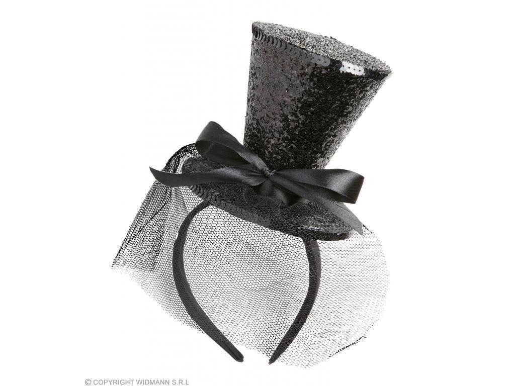 Fekete mini csillogó cilinder szalaggal hajpánton Minitoys web ruh z 4d9e9ec7ab